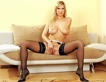 Stocking Clad Blonde Exposes masher Pussy